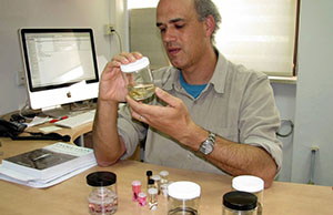 Prof. Chipman examining biological specimen